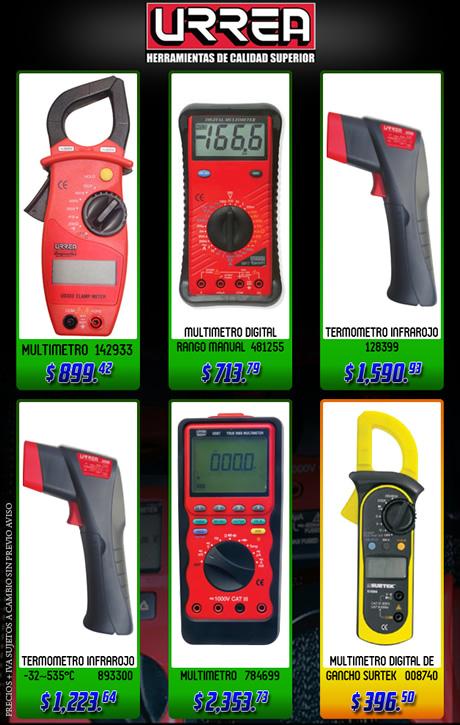Los mejores precios en termómetros y multímetros URREA
