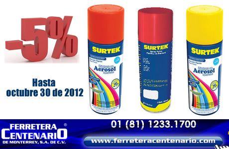 Aprovecha nuestra oferta de octubre en Pinturas en Aerosol marca SURTEK