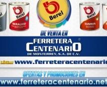 Venta de pinturas BEREL en Ferretera Centenario de Monterrey