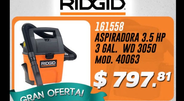 Aspiradora Ridgid 3.5 HP y 3 GAL en oferta
