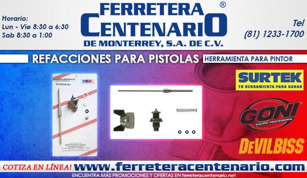 refacciones pistolas para pintar ferretera centenario de monterrey herramientas goni devilbiss surtek dogotuls