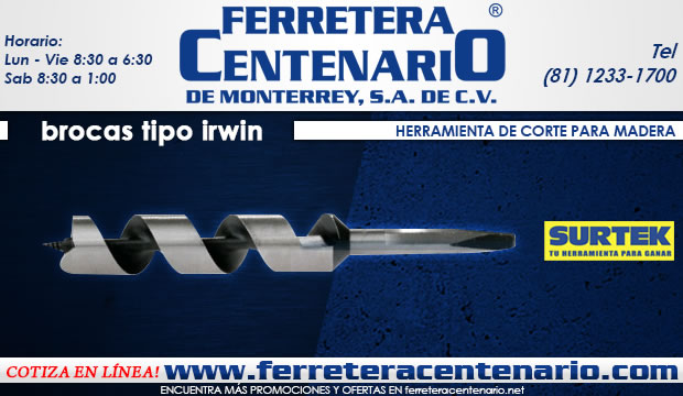 brocas tipo irwin herramientas corte madera ferretera centenario de monterrey