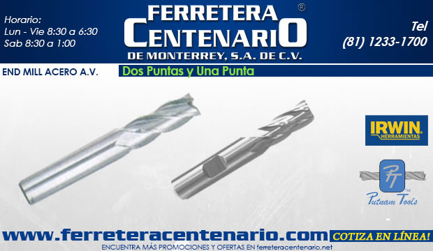 end mill acero av alta velocidad herramientas ferretera centenario de monterrey corte metal