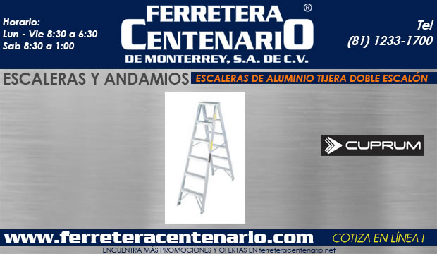 escaleras andamios tijera doble escalon aluminio ferretera centenario demonterrey mexico Cuprum