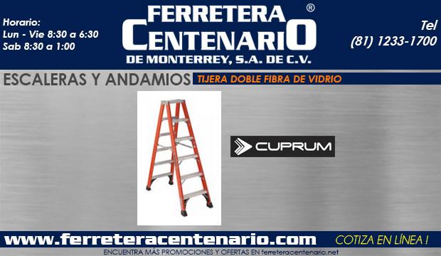 escaleras tijera doble fibra de vidrio ferretera centenario demonterrey mexico Cuprum