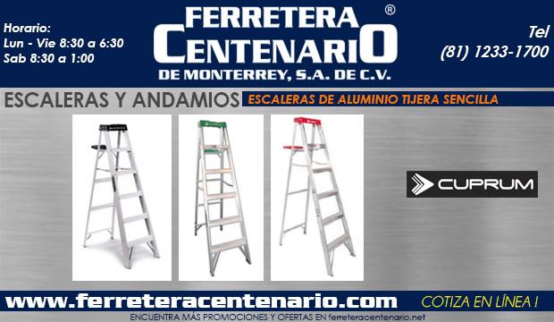 escaleras andamios de aluminio tijera sencilla Cuprum ferretera centenario de monterrey mexico