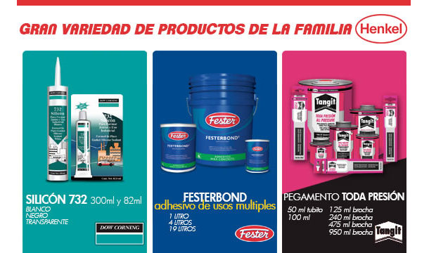 Silicón, adhesivos y pegamentos marca Henkel