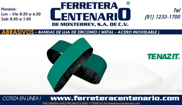 banda lija zirconio metal acero inoxidable abrasivo ferretera centenario de monterrey mexico