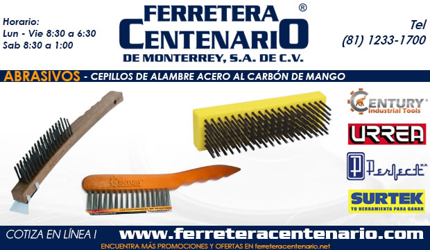 cepillos de alambre acero al carbon con mango de madera abrasivos ferretera centenario monterrey mexico
