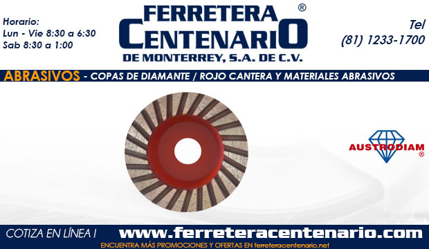 copas diamante rojo cantera materiales abrasivos ferretera centenario de monterrey mexico