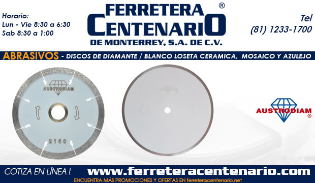 discos diamante blanco abrasivo loseta ceramico azulejo mosico ferretera centenario monterrey mexico
