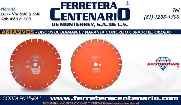 discos de diamante abrasivos austrodiam ferretera centenario monterrey mexico naranja concreto curado reforzado