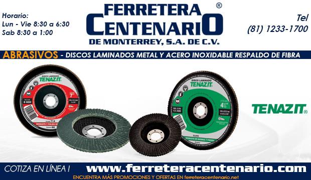 discos laminados metal acero inoxidable respaldo fibra ferretera centenario de monterrey mexico abrasivos