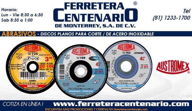 discos planos acero inoxidable abrasivos ferretera centenario monterrey mexico