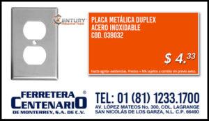 plata metalica duplex acero inoxidable century industrial tools ferretera centenario monterrey mexico iluminacion electricista