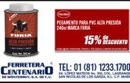 Pegamento para PVC Alta Presión 240ml marca Furia en oferta
