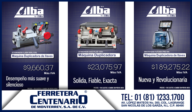 maquinas duplicadoras llaves alba promociones ferretera centenario de monterrey mexico