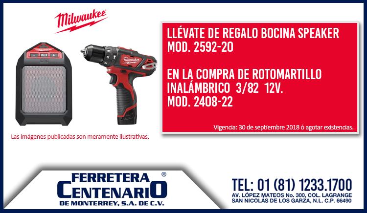 promo milwaukee rotomartillo centenario monterrey ferreteria Mexico bocina gratis