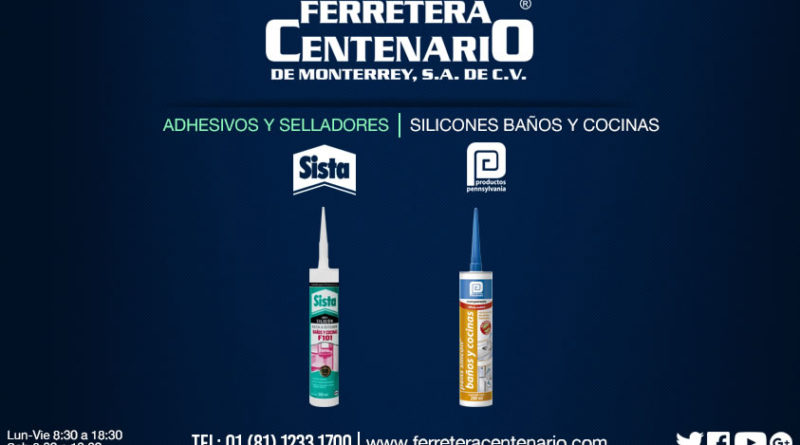 adhesivos selladores silicones baños cocinas ferretera centenario monterrey mexico