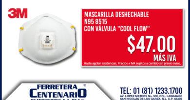 mascarilla desechable valcula valvula cool flow ferretera centenario monterrey mexico