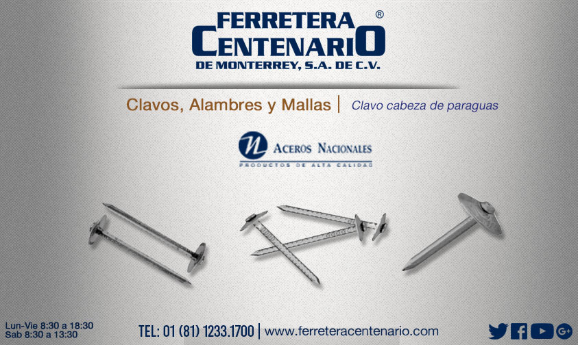 cabeza de paraguas clavos ferretera centenario monterrey