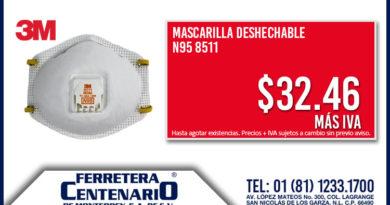 mascarilla desechable 3m ferretera centenario monterrey mexico