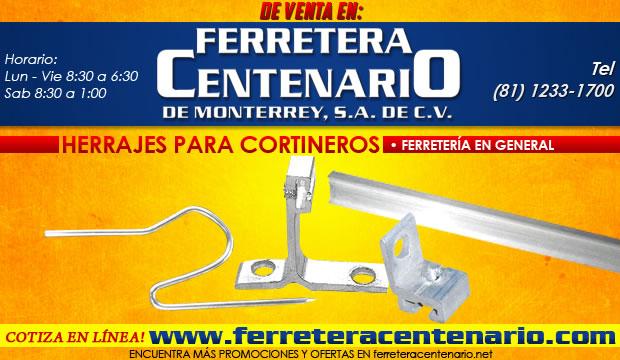 herrajes para cortineros, venta monterrey, ferretera centenario