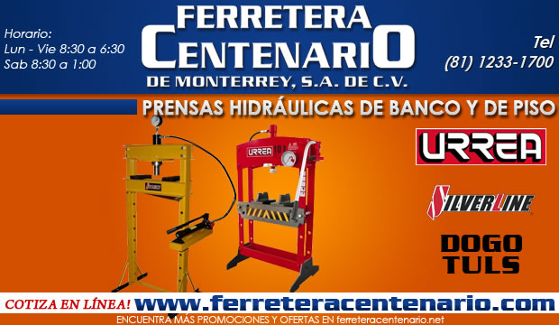 prensas hidraulicas de banco y de piso ferretera centenario de monterrey herramientas manuales