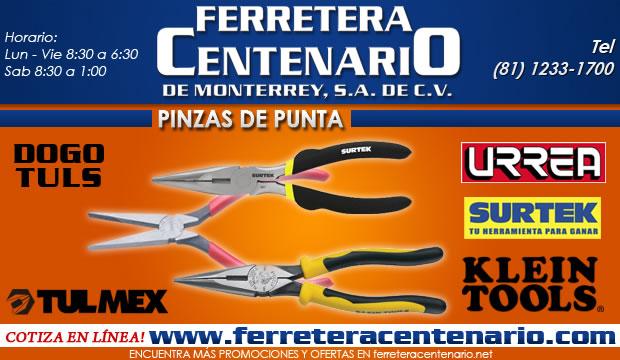 pinzas de punta herramienta manual ferretera centenario de monterrey