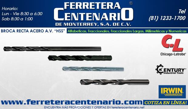 herramientas accesorios corte de metal ferretera centenario de monterrey broca recta AV HSS fraccionales bidimensionales