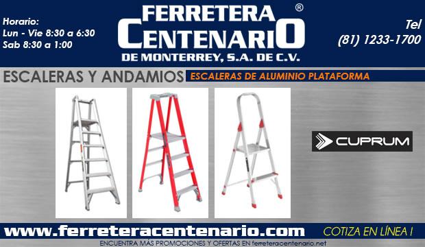 escaleras de aluminio de plataforma ferretera centenario dem onterrey mexico andamios cuprum