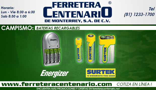 baterias recargables ferretera centenario demonterrey mexico campismo