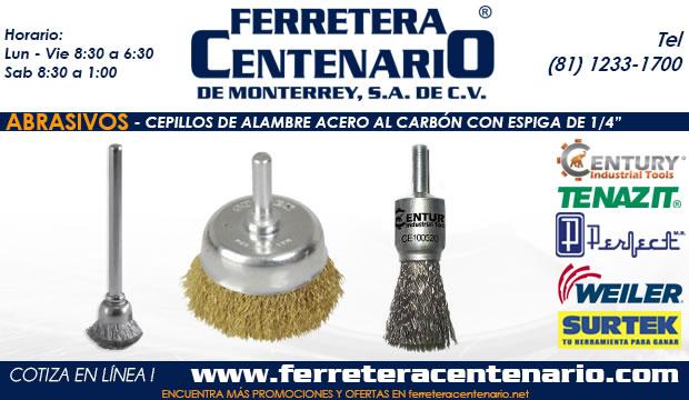 cepillo de alambre acero al carbon con espiga de 1/4 ferretera centenario monterrey mexico abrasivos