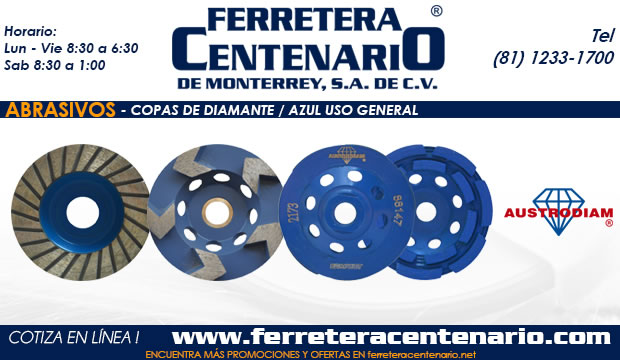copas diamante azul uso general abrasivos ferretera centenario de monterrey mexico