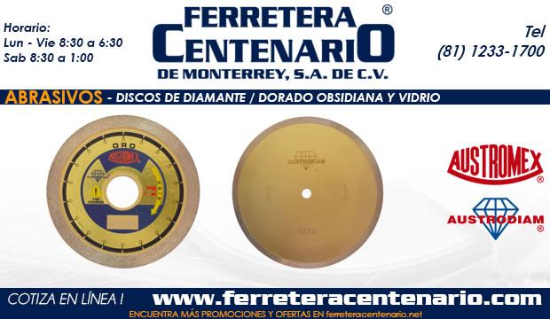 discos de diamante obsidiana vidrio abrasivos ferretera centenario monterrey mexico