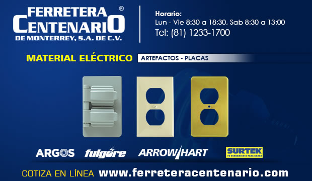 placas material electrico ferretera centenario monterrey mexico