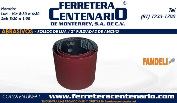 rollos lija dos pulgadas ancho abrasivos ferretera centenario monterrey mexico