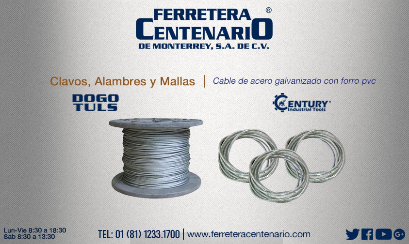 cable acero alambre galvanizado forro PVC
