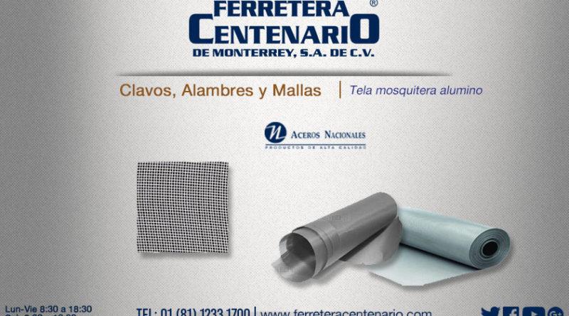 tela mosquitera aluminio mallas alambres aceros nacionales ferretera centenario monterrey mexico